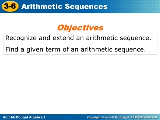 Recognize and extend an arithmetic sequence. Find a given term of an arithmetic sequence.