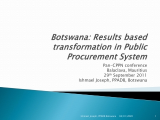 Botswana: Results based transformation in Public Procurement System