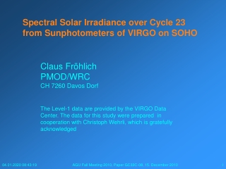 Spectral Solar Irradiance over Cycle 23 from Sunphotometers of VIRGO on SOHO