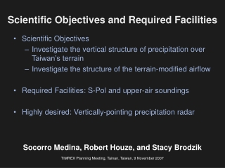 Scientific Objectives and Required Facilities