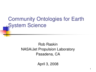 Community Ontologies for Earth System Science