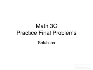 Math 3C Practice Final Problems