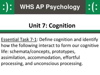 Unit 7: Cognition