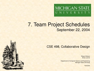 7. Team Project Schedules September 22, 2004