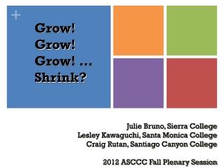 Grow! Grow! Grow! … Shrink?