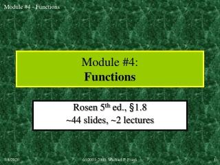 Module #4: Functions