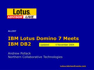IBM Lotus Domino 7 Meets IBM DB2