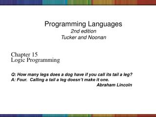 Programming Languages 2nd edition Tucker and Noonan