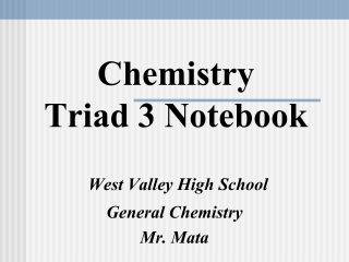 Chemistry Triad 3 Notebook