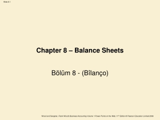 Chapter 8 – Balance Sheets