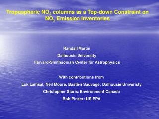 Tropospheric NO 2  columns as a Top-down Constraint on NO x  Emission Inventories