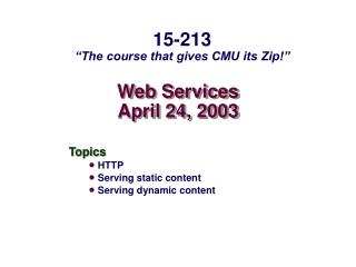 Web Services April 24, 2003