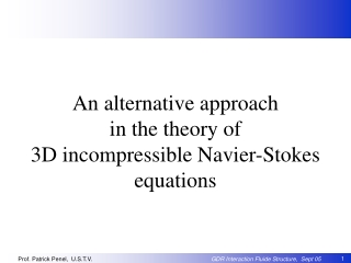 An alternative approach  in the theory of  3D incompressible Navier-Stokes equations