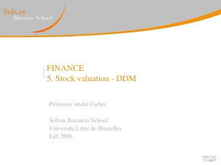 FINANCE 5. Stock valuation - DDM