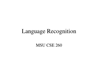 Language Recognition