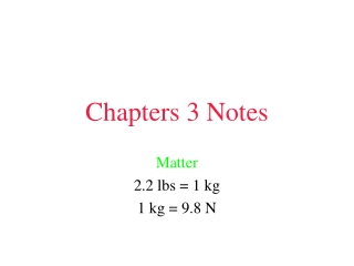 Chapters 3 Notes