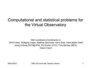 Computational and statistical problems for the Virtual Observatory