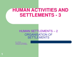 HUMAN ACTIVITIES AND SETTLEMENTS - 3