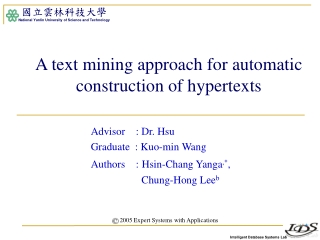 A text mining approach for automatic construction of hypertexts
