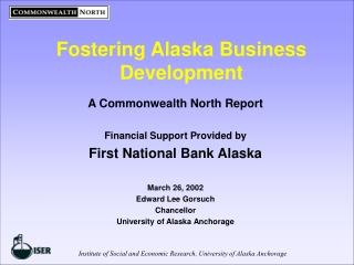 Fostering Alaska Business Development