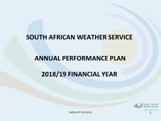 SOUTH AFRICAN WEATHER SERVICE    ANNUAL PERFORMANCE PLAN 2018/19 FINANCIAL YEAR