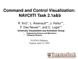 Command and Control Visualization:  NAVCIITI Task 2.1a&b