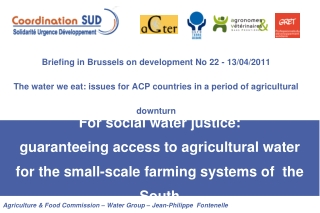 Agriculture & Food Commission – Water Group – Jean-Philippe  Fontenelle