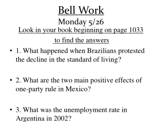 Bell Work Monday 5/26