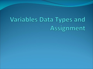Variables Data Types and Assignment