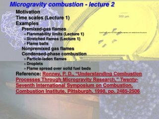 Microgravity combustion - lecture 2