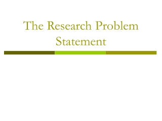 The Research Problem Statement
