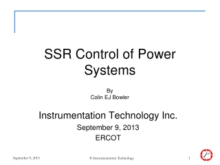 SSR Control of Power Systems