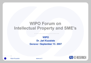 WIPO Forum on  Intellectual Property and SME's
