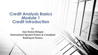 Credit Analysis Basics Module 1 Credit Introduction