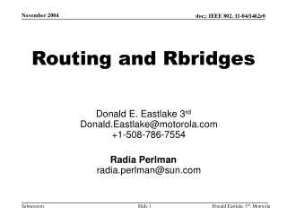 Routing and Rbridges