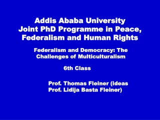 Addis Ababa University  Joint PhD Programme in Peace, Federalism and Human Rights