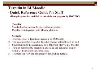 I. Using Turnitin in BU Moodle  –  Teacher