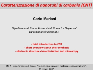 Caratterizzazione di nanotubi di carbonio (CNT)