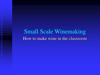 Small Scale Winemaking
