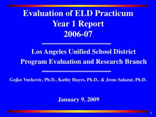 Los Angeles Unified School District Program Evaluation and Research Branch