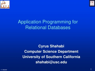Application Programming for Relational Databases