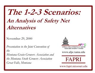 The 1-2-3 Scenarios: An Analysis of Safety Net Alternatives