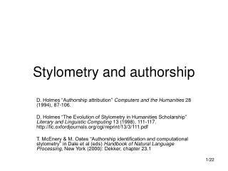 Stylometry and authorship