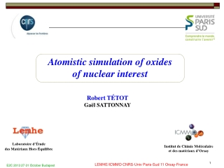 Atomistic simulation of oxides  of nuclear interest
