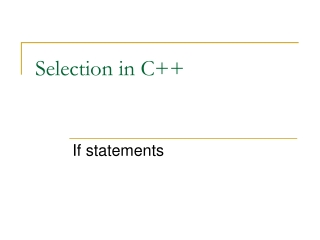 Selection in C++