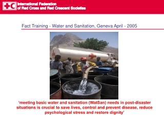Fact Training - Water and Sanitation, Geneva April - 2005