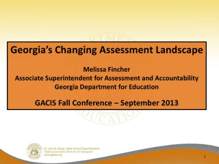 Georgia's Changing Assessment Landscape Melissa Fincher