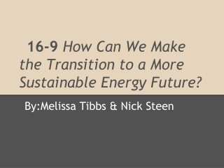 16-9  How Can We Make the Transition to a More Sustainable Energy Future?