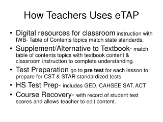How Teachers Uses eTAP