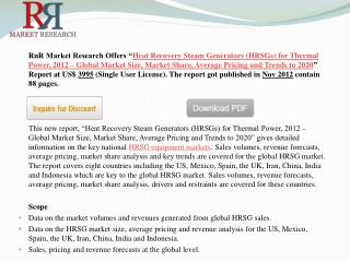 2020 World HRSGS Market for Thermal Power, 2012